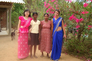 In traditional Sri Lankan sari with the hosts