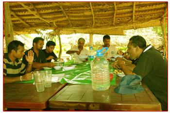 Having lunch at Horizon Lanka