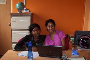 Nalika with Chamila, a senior student