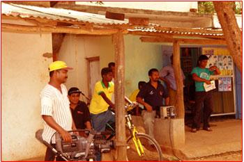 Filming in the bazaar at Bogas Handiya