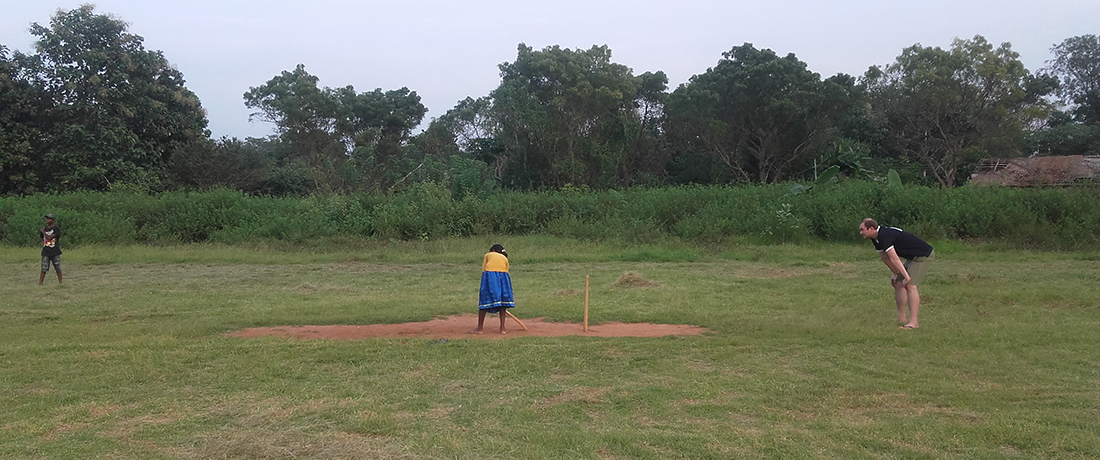 Zachary Grenzowski playing cricket in Mahawilachchiya