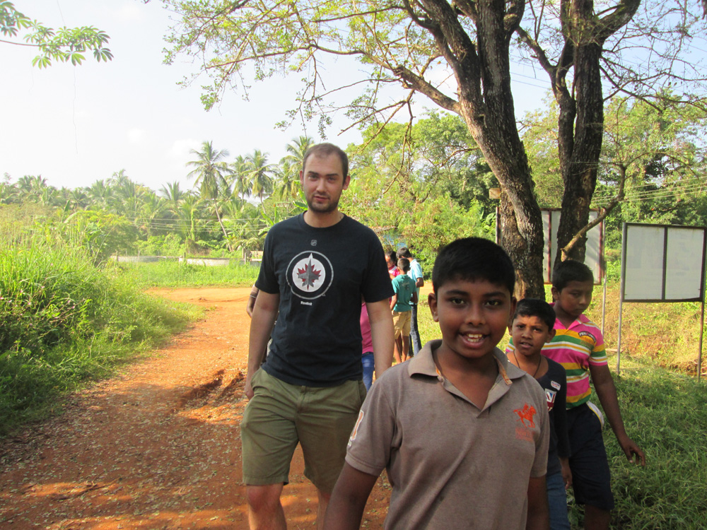 Zack taking a stroll with the students.