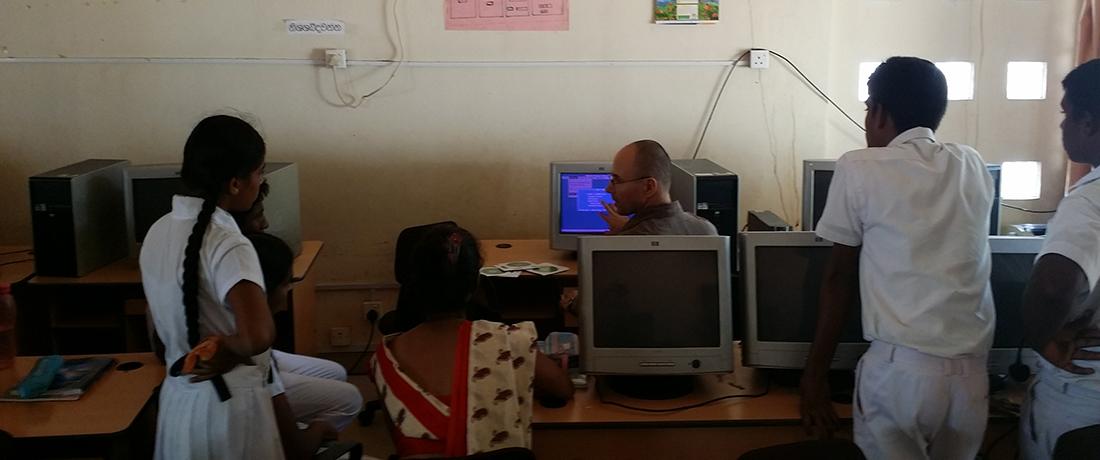 Dmitri Smirnoff teaching the students at Thakshila Public School.