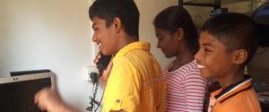 kids with a CDMA phone