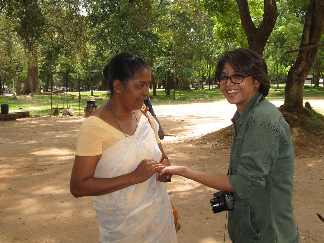 Miss Nayab Rehman with a fortuneteller in Anuradhapura