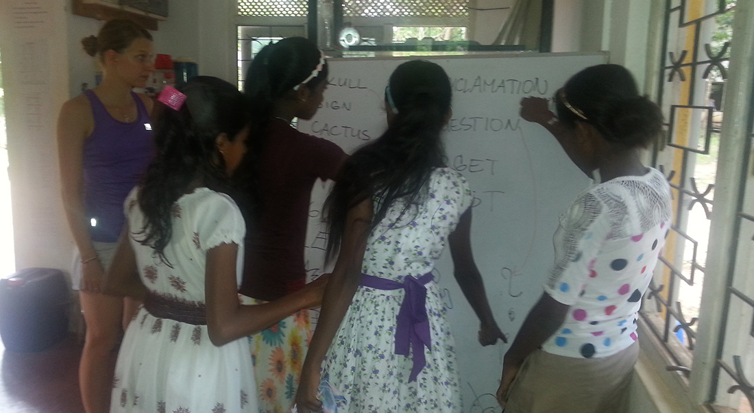 Teaching English to local pupils in Horizon Foundation