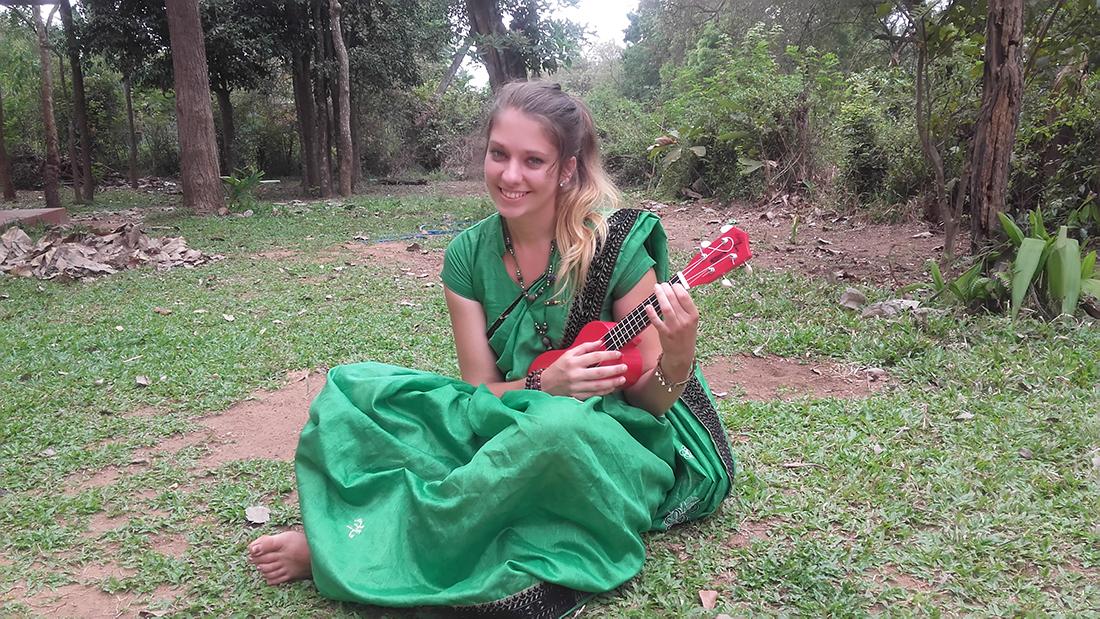With her ukulele