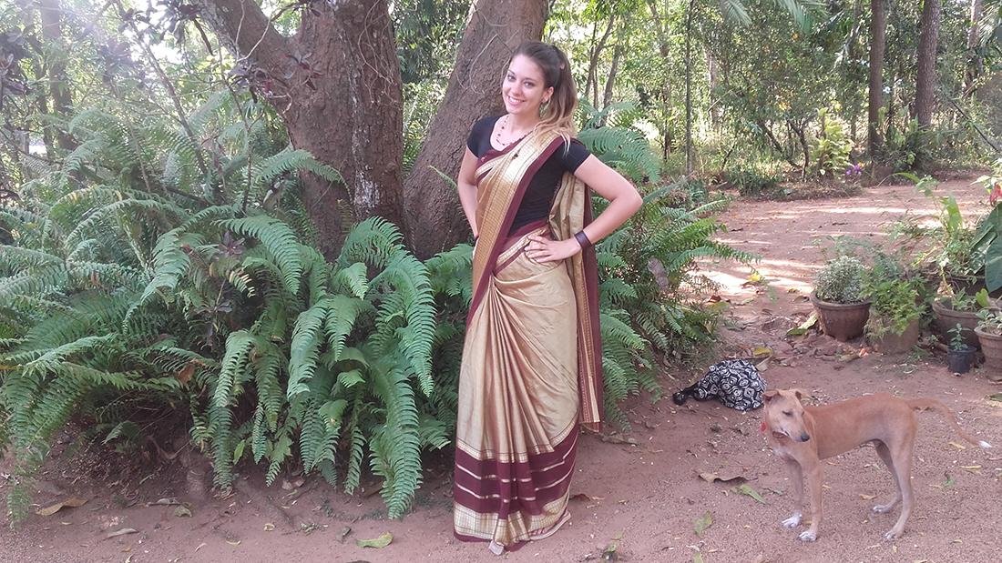In a Sri Lankan sari