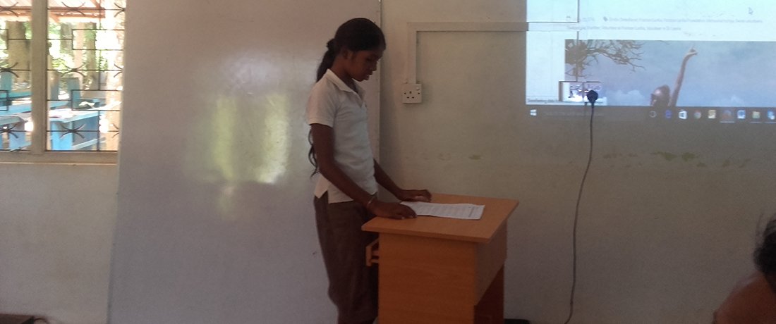 Dinushika Madhushani doing the presentation for the first time of her life
