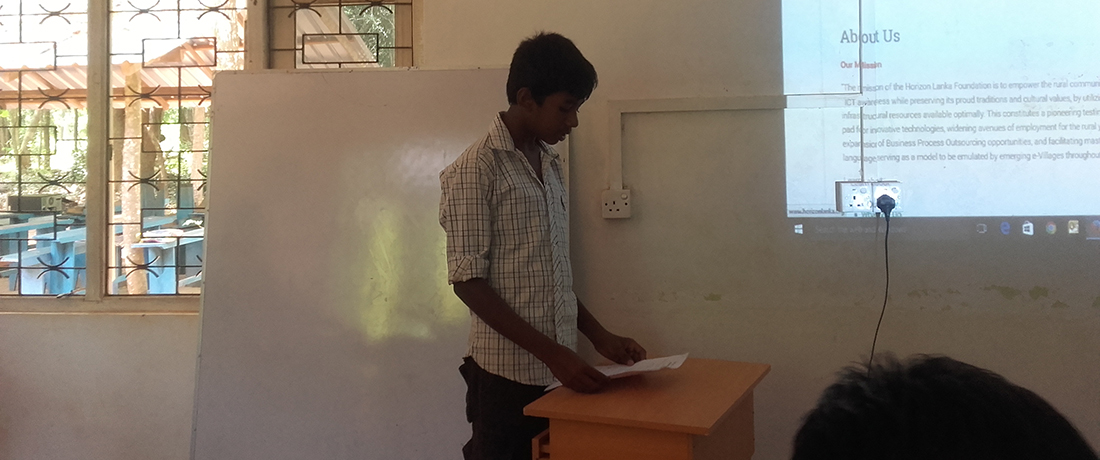 Kavindu Madhushan doing the presentation for the first time of his life