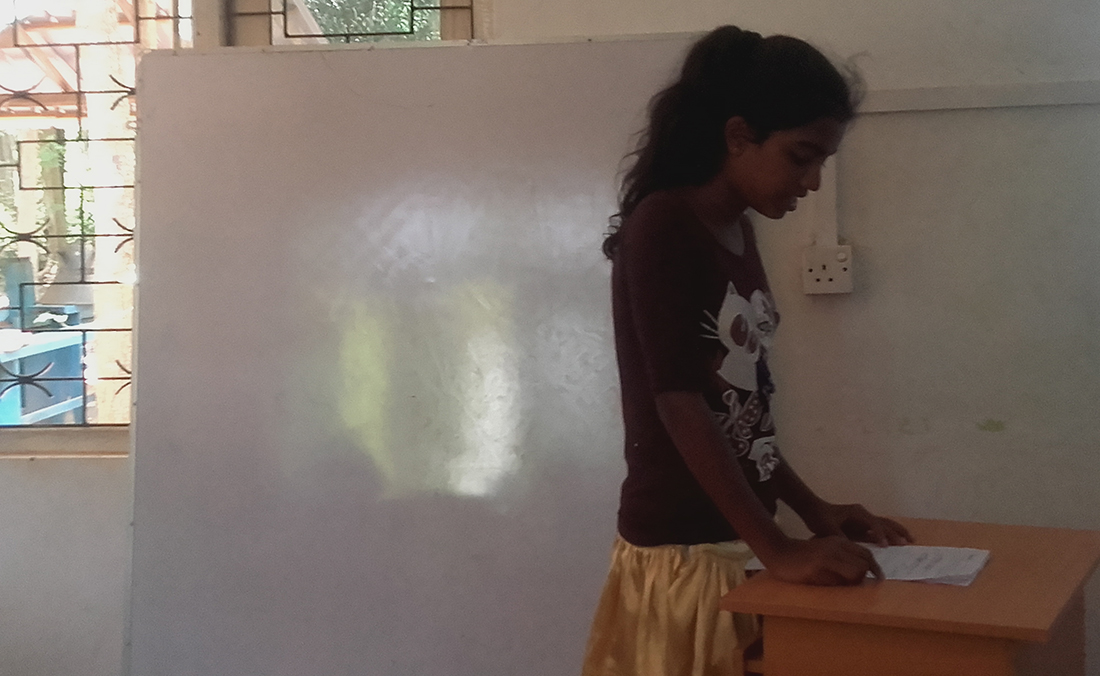 Pramodya Umayangani doing the presentation for the first time of his life