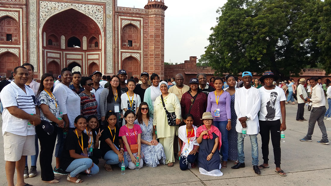 At one of the gates to Taj Mahal