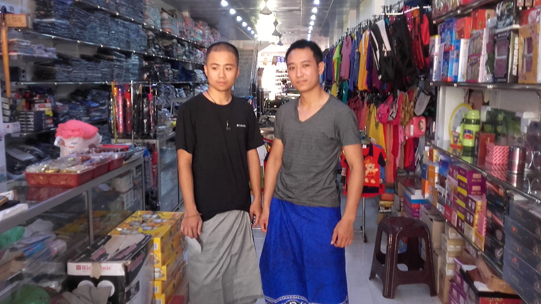 At a clothes shop in Mahawilachchiya with Dang