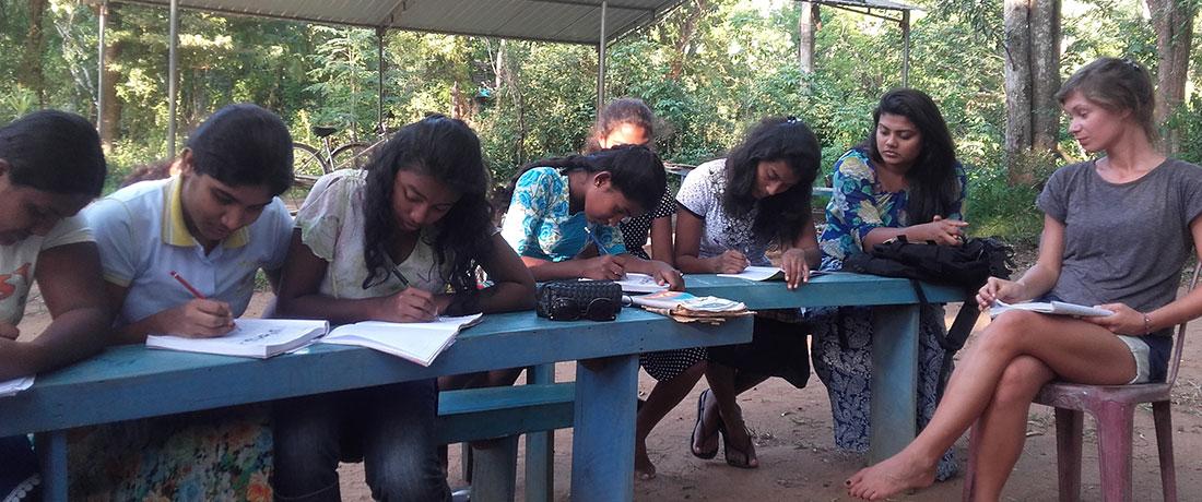 Miss Carina Buchegger teaching English to the Horizon Lanka students.