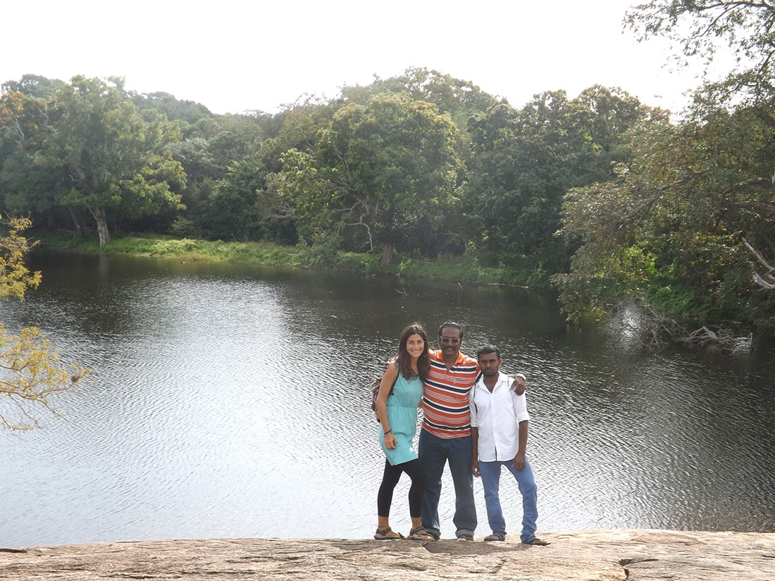 Prince, Rajitha and Cristina at Tantirimale, Mahawilachchiya