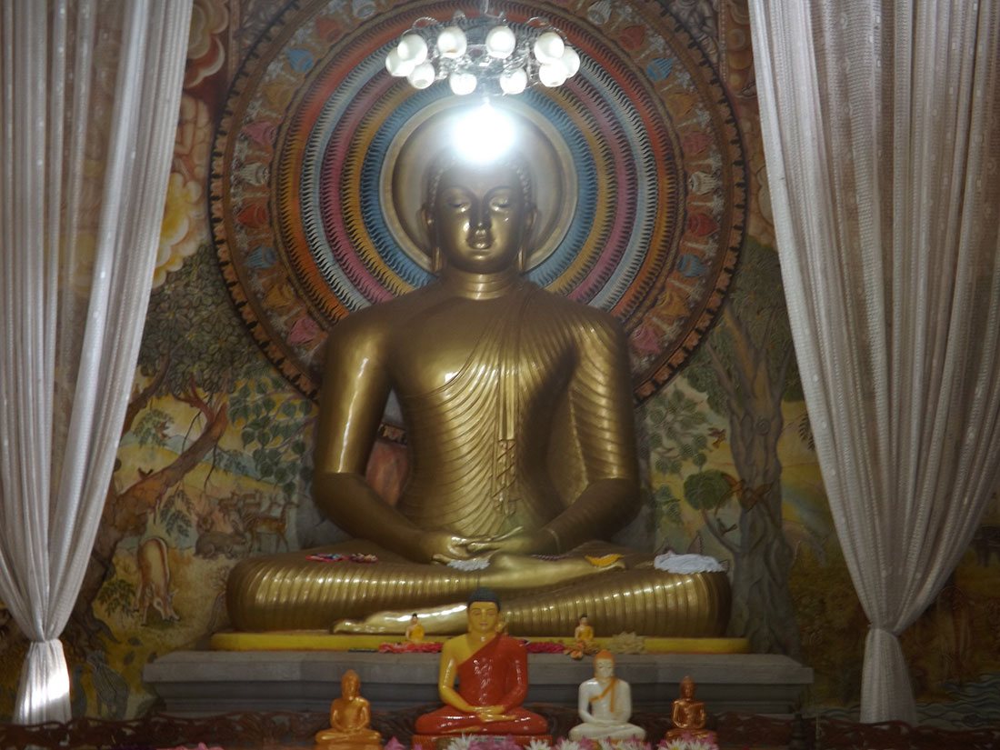 Buddha statue in the shrine in Tantirimale temple, Mahawilachchiya