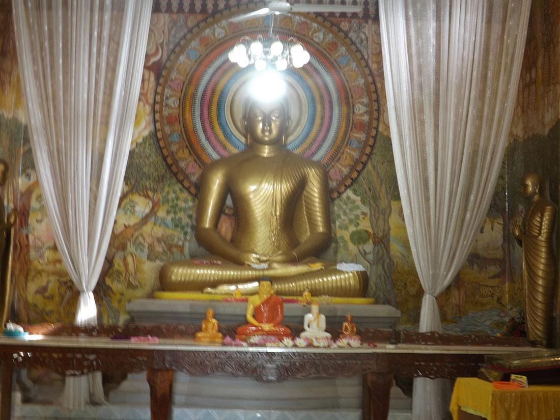 Buddha statue in the shrine in Tantirimale temple, Mahawilachchiya