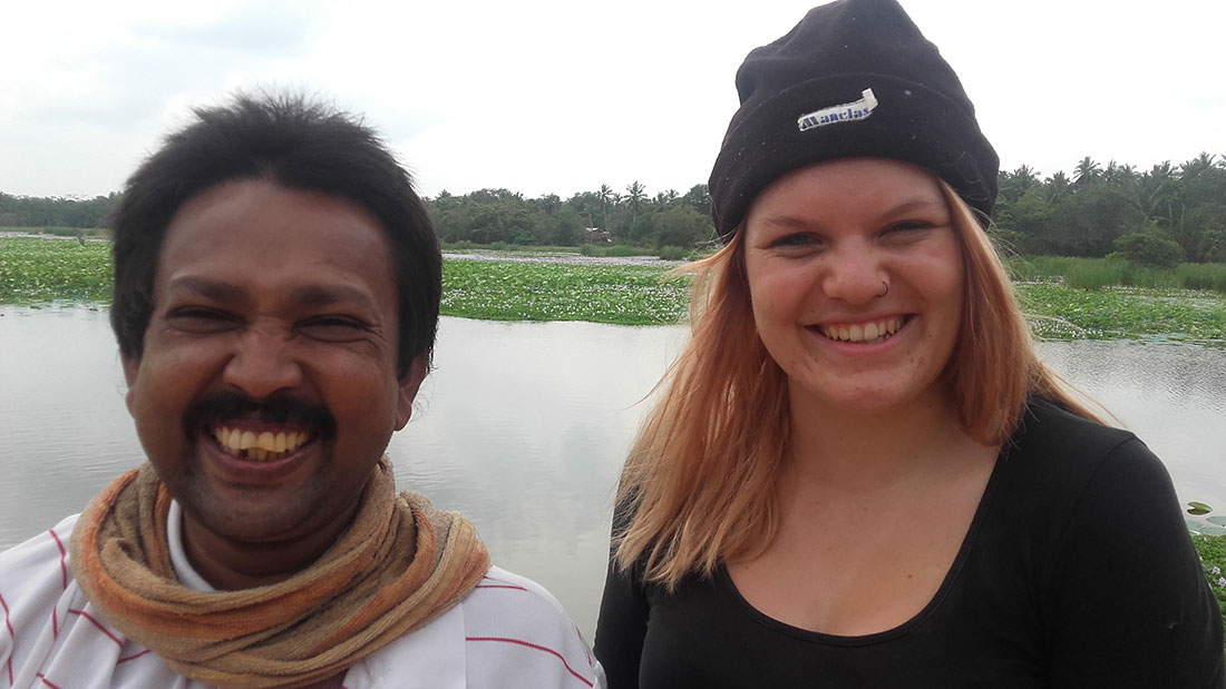 Lea Rumpf with Wasantha at Sadasarana lake