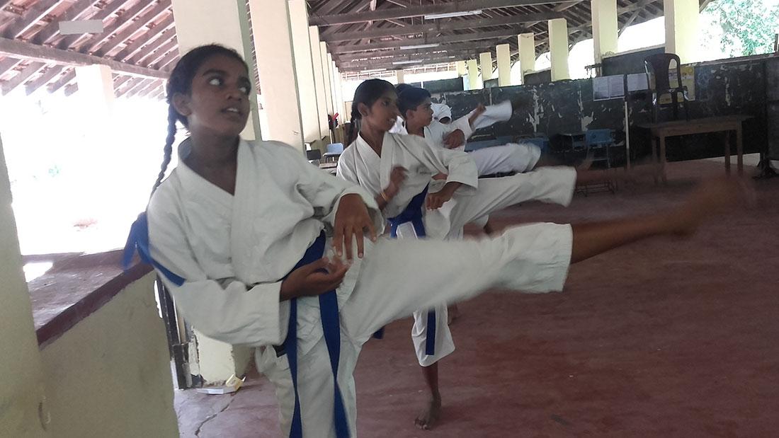 Pramodhya Umayangani at a training session