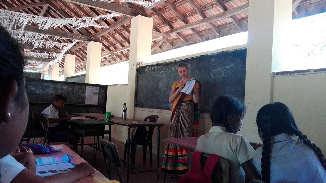 Lucie Barbier at Gamini Public School, Mahawilachchiya
