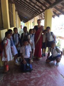 Nikola Tillova with the students of Gamini Public School, Mahawilachchiya