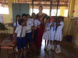 Nikola Tillova with the students of Gamini Public School, Mahawilachchiya