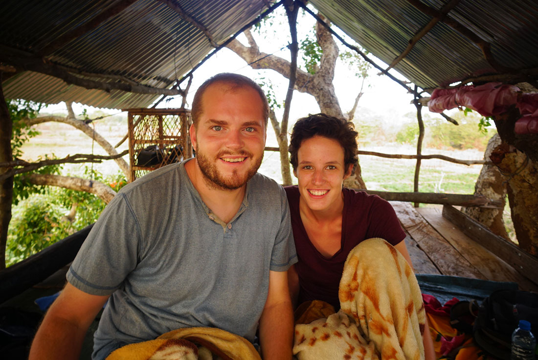 Sarah and Joe Campbell in a treehouse in Mahawilachchiya.