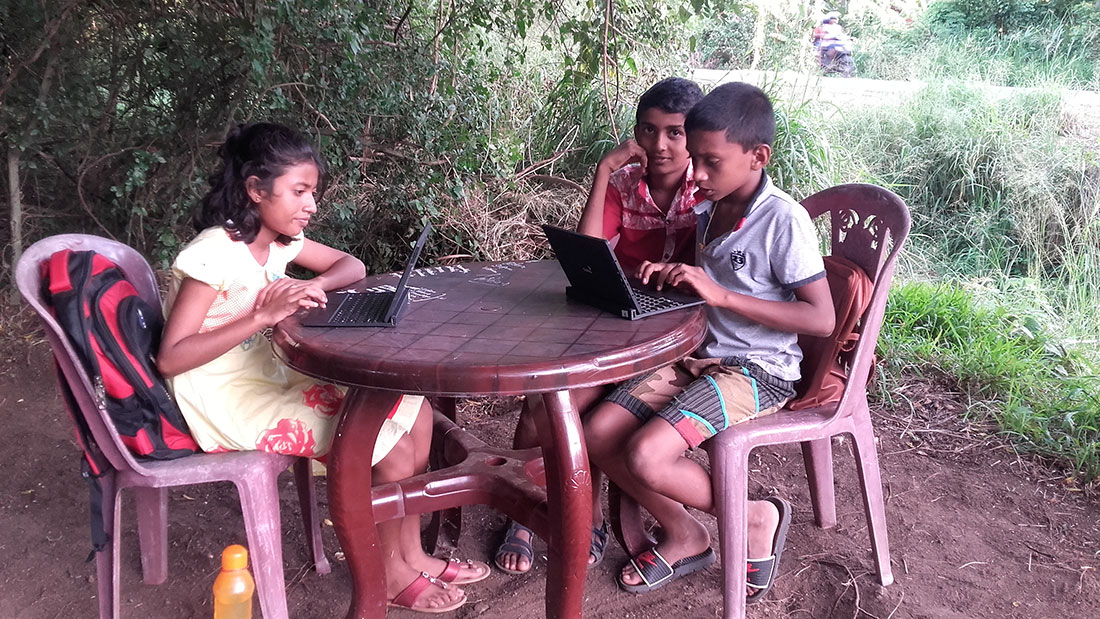 Students earning computers at Horizon Academy, Anuradhapura