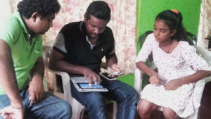 Dialog technical team at Pramodhya Umayangani's house in Mahawilachchiya