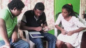 Dialog technical team at Pramodhya Umayangani's house in Mahawilachchiya
