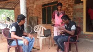 Dialog technical team at Prabodha Sandeepani's house in Mahawilachchiya