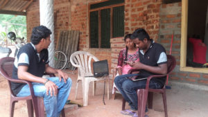 Dialog technical team at Prabodha Sandeepani's house in Mahawilachchiya