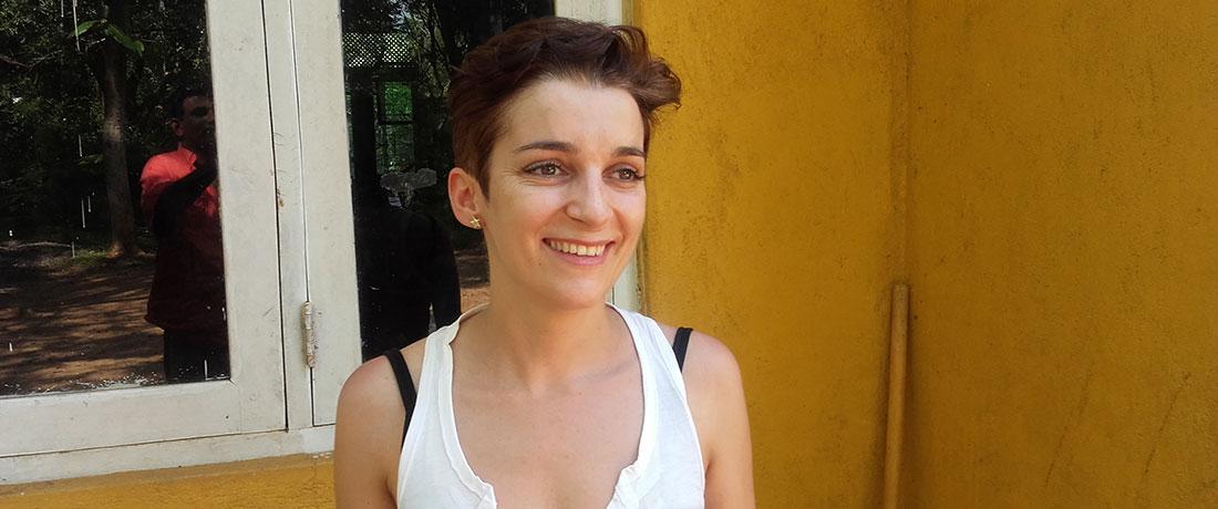 A smiling Paula Pazos Dopazo at Horizon Academy - Mahawilachchiya