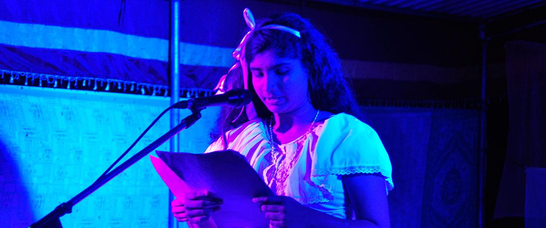 Tharushika Rathnayaka and Sanduni Jayathilaka of Grade 10 doing the announcing at the concert.