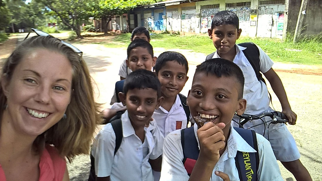 Miss Melissa Schmitt from France with the students in Ranpathvila