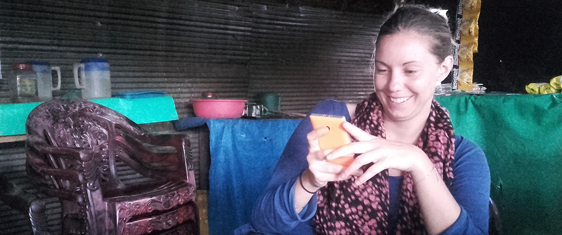 Melissa Schmitt at a small cafe in Dehiaththa Kandiya