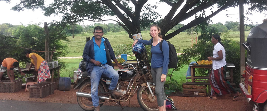 Miss Melissa Schmitt with Mr Nanda Wanninayaka on the way to the Hills