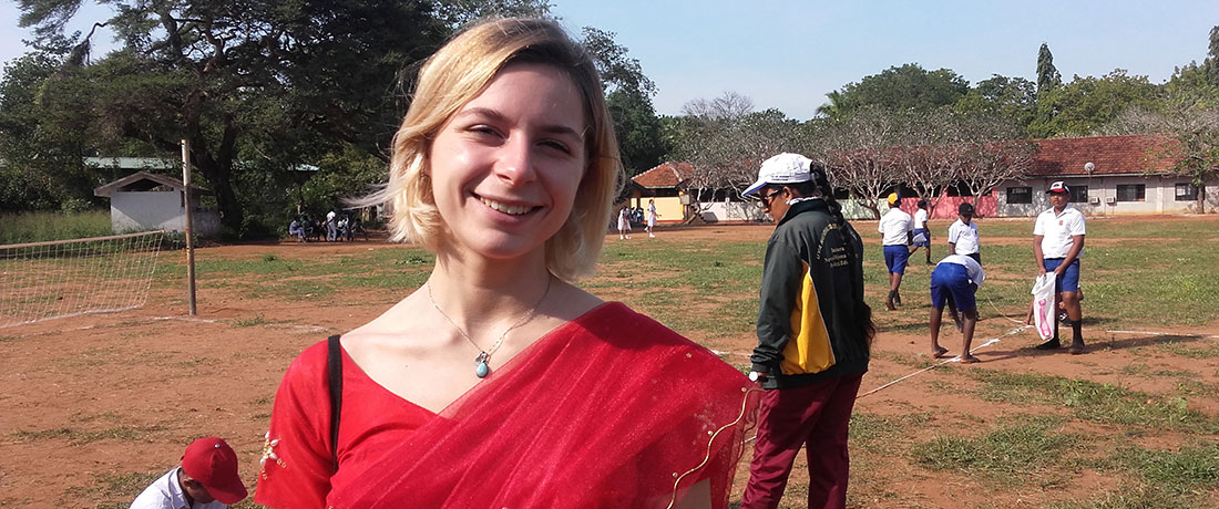 Julie Desperiez in a sari at Thakshila Public School
