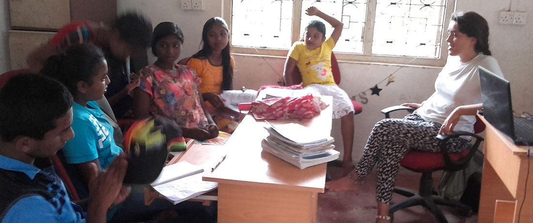 Miss Manon Charlotte Zabot with senior students at Horizon Academy, Mahawilachchiya