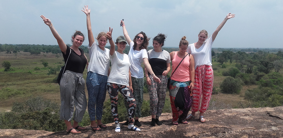 Manon Charlotte Zabot and other volunteers at Tantirimale Rock Temple