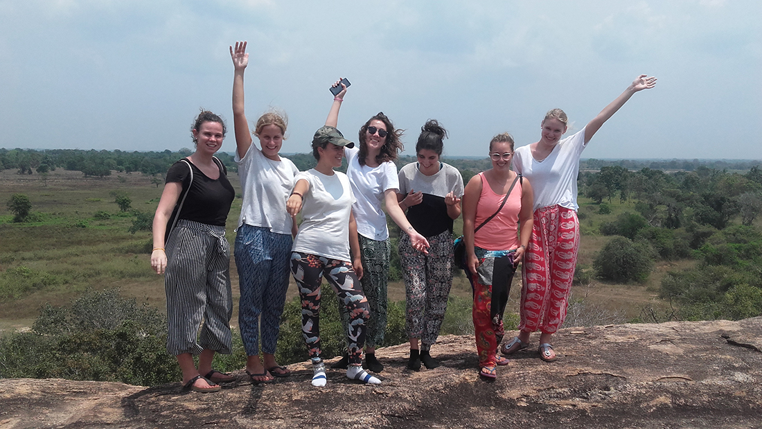 Manon Quintin with other volunteers at Tantirimale Rock Temple.