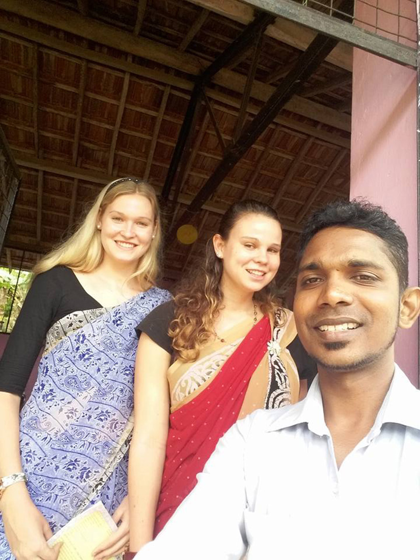 Chiara and Teresa Fürst in saris with Namal Thissa