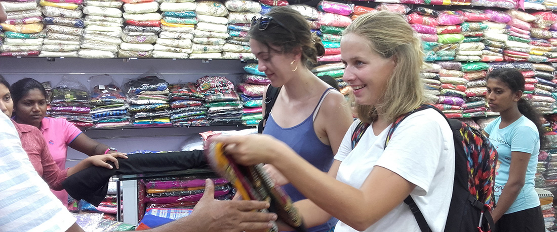Johanna Carina Schönborn shopping with Manon Quintin in Anuradhapura