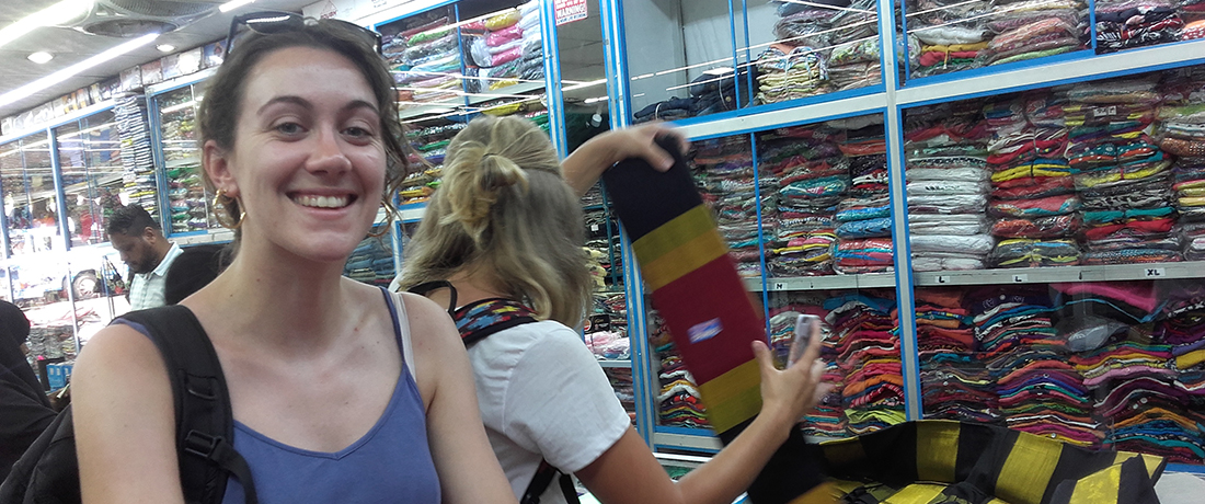 Manon Quintin and Johanna Carina Schönborn shopping in Anuradhapura