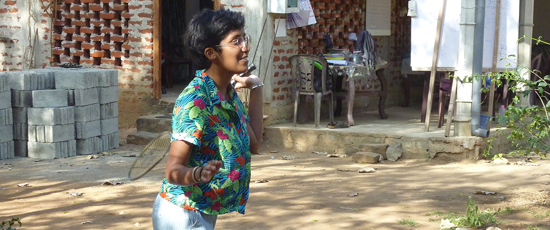 Miss Marie-Dilani Joseph Antony playing badminton with the students