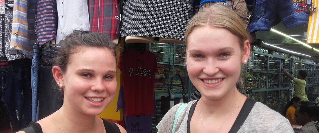 Teresa and Chiara Fürst at a shop in Anuradhapura