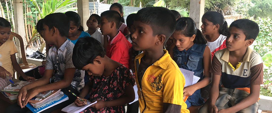 The students learning English at Horizon Academy - Maniyanthoddam, Nallur, Sri Lanka